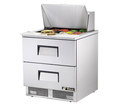 "True TFP-32-12M-D-2 32.13"" Sandwich/Salad Prep Table w/ Refrigerated Base, 115v"