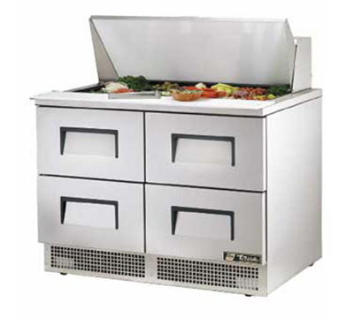 "True TFP-48-18M-D-4 48"" Mega-Top Sandwich/Salad Refrigerator - 4-Drawers, Stainless 115v"