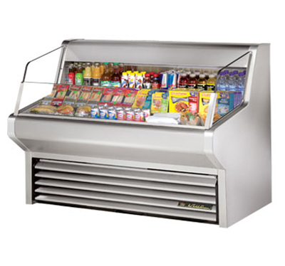 "True THAC-60-S 60"" Horizontal Air Curtain Merchandiser - 3-Shelf, Stainless"