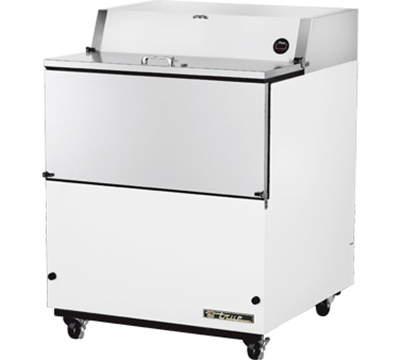 "True TMC-34 34"" Mobile Milk Cooler - Holds 8-Crates, Drop Front, Aluminum/White"