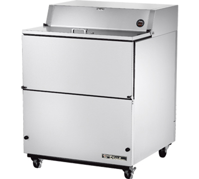 "True TMC-34-S 34"" Mobile Milk Cooler - Holds 8-Crates, Drop Front, Aluminum/Stainless"