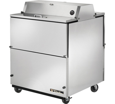 "True TMC-34-S-DS 34"" Mobile Milk Cooler - Dual-Sided, 8-Crate Capacity, Aluminum/Stainless 115v"