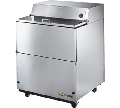 "True TMC-34-S-SS 34"" Mobile Milk Cooler - Holds 8-Crates, Drop Front, All Stainless"