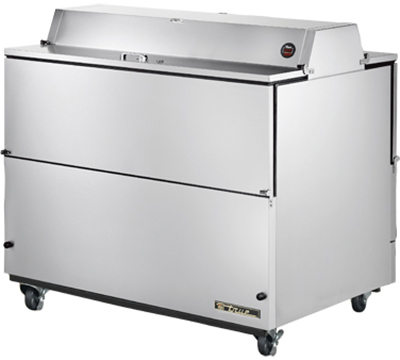 "True TMC-49-S-DS 49"" Mobile Milk Cooler - Holds 12-Crates, Dual Sided, Aluminum/Stainless"