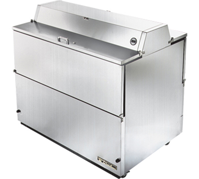 """True TMC-49-S-DS-SS 49"""" Mobile Milk Cooler - Holds 12-Crates, Dual Sided, All Stainless"""