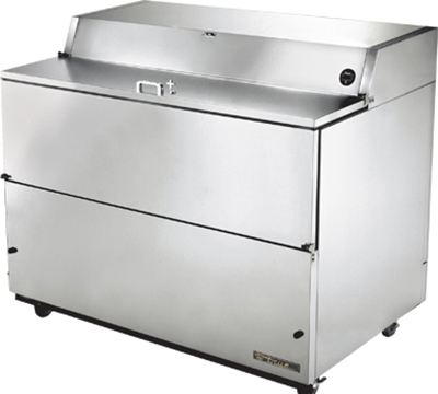 "True TMC-58-S-SS 58"" Mobile Milk Cooler - Holds 16-Crates, Drop Front, All Stainless"