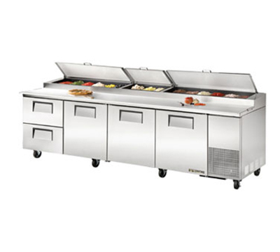 "True TPP-119D-2 119"" Pizza Prep - 3-Solid Doors & 2-Drawers, (15) 1/3-Pans, Stainless Exterior"