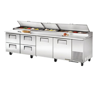 "True TPP-119D-4 119"" Pizza Prep - 2-Solid Doors & 4-Drawers, (15) 1/3-Pans, Stainless Exterior"