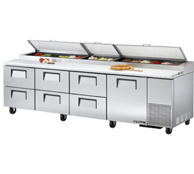 "True TPP-119D-6 119"" Pizza Prep - 1-Solid Door & 6-Drawers, (15) 1/3-Pans, Stainless Exterior"