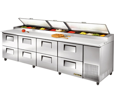 "True TPP-119D-8 119"" Pizza Prep - 8-Drawers, (15) 1/3-Pans, Stainless Exterior"