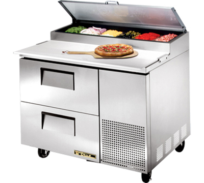 "True TPP-44D-2 44"" Pizza Prep - 2-Drawers, (6) 1/3-Pans, Stainless Exterior"