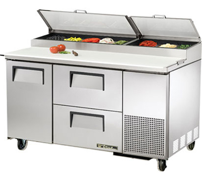 "True TPP-60D-2 60"" Pizza Prep - 1-Solid Door & 2-Drawers, (8) 1/3-Pans, Stainless Exterior"