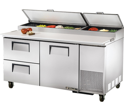 "True TPP-67D-2 67"" Pizza Prep - 1-Solid Door & 2-Drawers, (9) 1/3-Pans, Stainless Exterior"