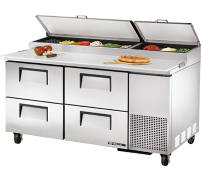 "True TPP-67D-4 67"" Pizza Prep - 4-Drawers, (9) 1/3-Pans, Stainless Exterior"
