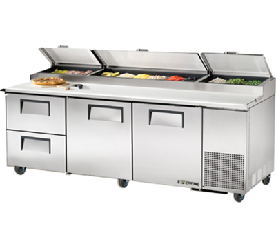 "True TPP-93D-2 93"" Pizza Prep - 2-Solid Doors & 2-Drawers, (12) 1/3-Pans, Stainless Exterior"