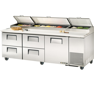 "True TPP-93D-4 93"" Pizza Prep - 1-Solid Door & 4-Drawers, (12) 1/3-Pans, Stainless Exterior"