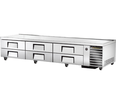 "True TRCB-110 110"" Refrigerated Chef Base - 6-Drawers, Aluminum/Stainless"
