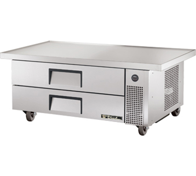 "True TRCB-52-60 52"" Refrigerated Chef Base - 2-Drawers, 60"" Top, Aluminum/Stainless"