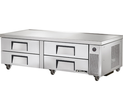 "True TRCB-72 72"" Refrigerated Chef Base - 4-Drawers, Aluminum/Stainless"