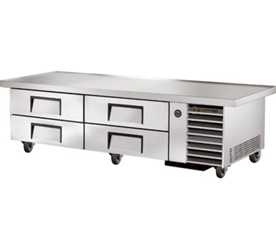 "True TRCB-79-86 79"" Refrigerated Chef Base - 4-Drawers, 86"" Top, Aluminum/Stainless"