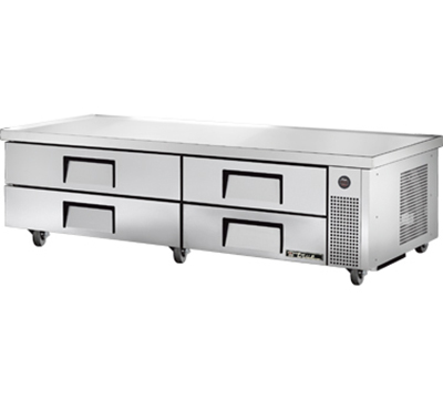 "True TRCB-82-84 82"" Refrigerated Chef Base - 4-Drawers, 84"" Top, Aluminum/Stainless"