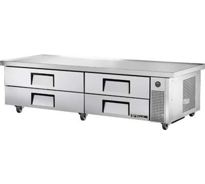 "True TRCB-82-86 82"" Refrigerated Chef Base - 4-Drawers, 86"" Top, Aluminum/Stainless"