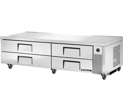 "True TRCB-82 82"" Refrigerated Chef Base - 4-Drawers, Aluminum/Stainless"