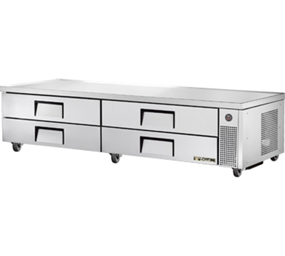 "True TRCB-96 96"" Refrigerated Chef Base - 4-Drawers, Aluminum/Stainless"
