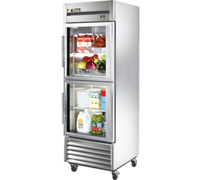 "True TS-23G-2 27"" Reach-In Refrigerator - 2-Glass Half Doors, All Stainless"