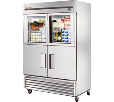 "True TS-49-2-G-2 54"" Reach-In Refrigerator - 2-Glass/2-Solid Half Doors, All Stainles"