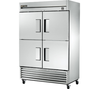 "True TS-49-4 54"" Reach-In Refrigerator - 4-Solid Half Doors, All Stainless"