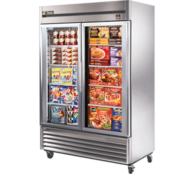 "True TS-49FG 54"" Reach-In Freezer - 2-Glass Doors, All Stainless"