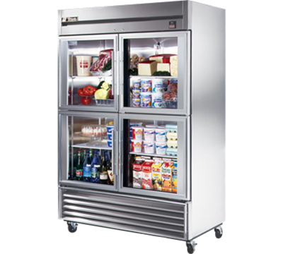 "True TS-49G-4 54"" Reach-In Refrigerator - 4-Glass Half Doors, All Stainless"