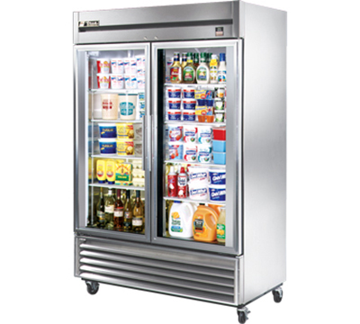 "True TS-49G 54"" Two Section Reach-In Refrigerator, (2) Glass Door, 115v"