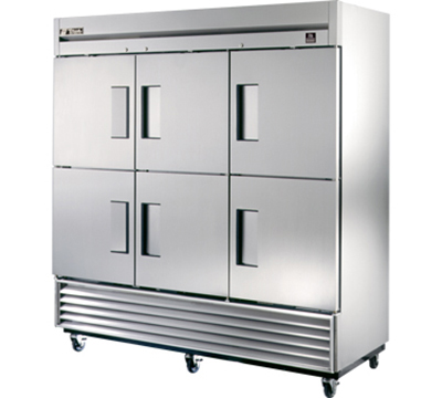 "True TS-72-6 78"" Reach-In Refrigerator - 6-Solid Half Doors, All Stainless"