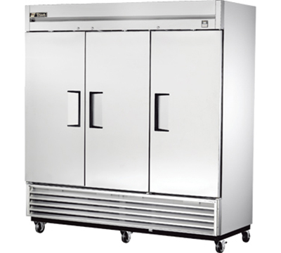 "True TS-72 78"" Reach-In Refrigerator - 3-Solid Doors, All Stainless"