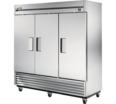 "True TS-72F 78"" Reach-In Freezer - 3-Solid Doors, All Stainless"