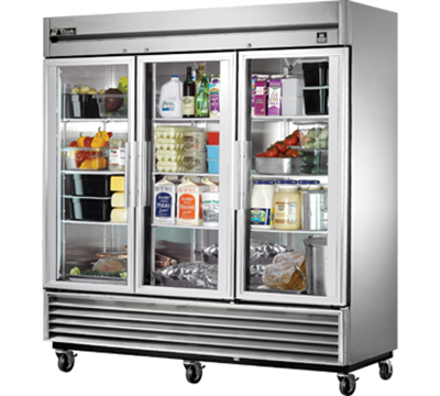 "True TS-72G 78"" Reach-In Refrigerator - 3-Glass Doors, All Stainless"