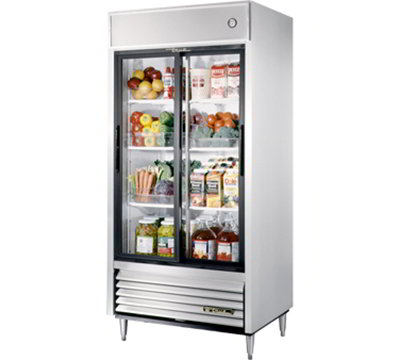 "True TSD-33G 40"" Reach-In Refrigerator - 2-Glass Sliding Doors, Stainless/Aluminum"