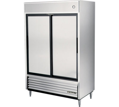 "True TSD-47 54"" Reach-In Refrigerator - 2-Solid Sliding Doors, Stainless/Aluminum"