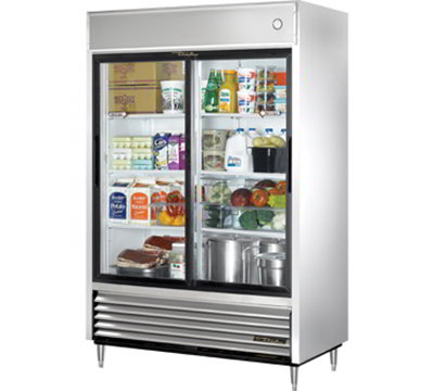 "True TSD-47G 54"" Reach-In Refrigerator - 2-Glass Sliding Doors, Stainless/Alumin"