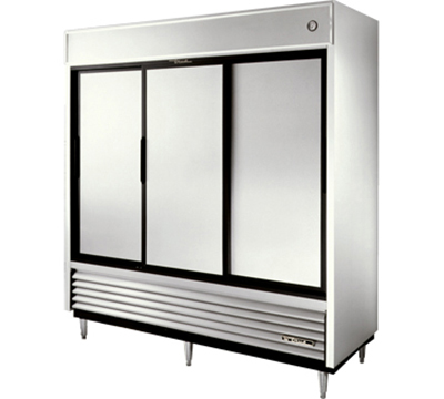 "True TSD-69 78"" Reach-In Refrigerator - 3-Solid Sliding Doors, Stainless/Aluminum"