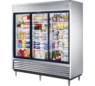 "True TSD-69G 78"" Reach-In Refrigerator - 3-Glass Sliding Doors, Stainless/Aluminum"