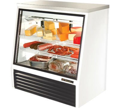 "True TSID-48-2 48"" See-Thru Single Duty Deli Case - Glass Front, 2-Rear Doors, White"