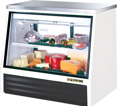 "True TSID-48-2-L 48"" See-Thru Counter Height Deli Case - Glass Front, 2-Rear Doors, White"