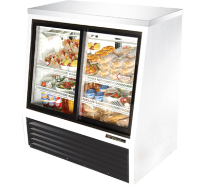 "True TSID-48-4 48"" Pass-Thru Single Duty Deli Case - 2-Front/2-Rear Doors, White"