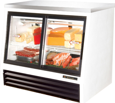 "True TSID-48-4-L 48"" Pass-Thru Counter Height Deli Case - 2-Front/2-Rear Doors, White"