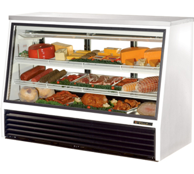 "True TSID-72-3 72"" See-Thru Single Duty Deli Case - Glass Front, 3-Rear Doors, White"