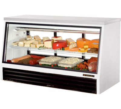 "True TSID-72-3-L 72"" See-Thru Counter Height Deli Case - Glass Front, 3-Rear Doors, White"