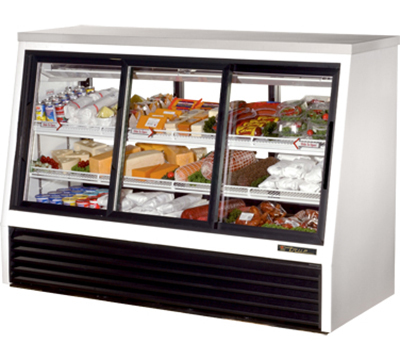 "True TSID-72-6 72"" Pass-Thru Single Duty Deli Case - 3-Front/3-Rear Doors, White"